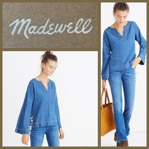 🆕 Madewell Denim Side Lace Oversized Andie Top XL